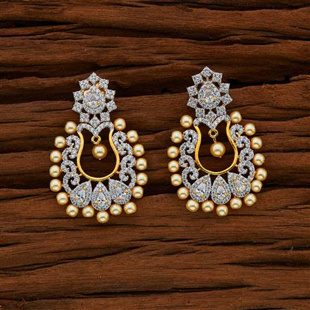 50573 CZ Chand Earring with 2 tone plating