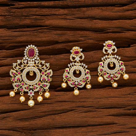 50574 CZ Classic Pendant Set with gold plating