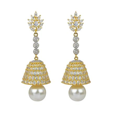 50592 American Diamond Jhumki with 2 tone plating