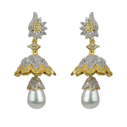 50593 American Diamond Jhumki with 2 tone plating