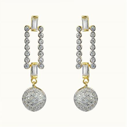 50595 CZ Delicate Earring with 2 tone plating