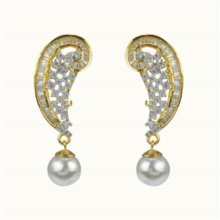 50596 CZ Delicate Earring with 2 tone plating