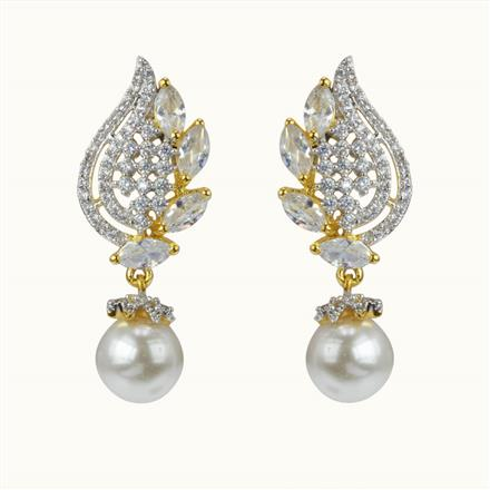 50597 CZ Delicate Earring with 2 tone plating