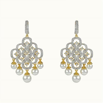 50599 CZ Long Earring with 2 tone plating