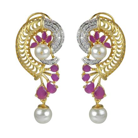 50600 CZ Classic Earring with 2 tone plating