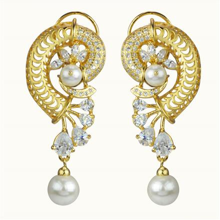 50601 CZ Classic Earring with gold plating