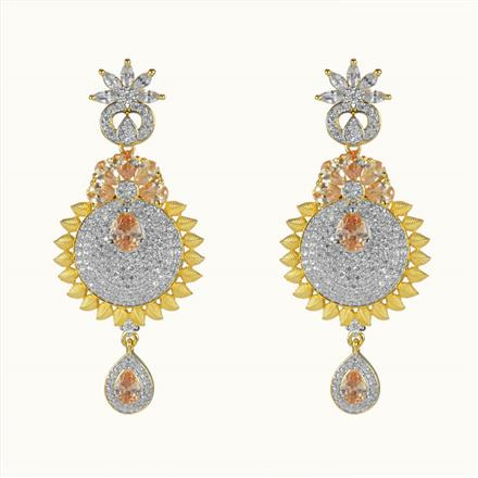 50602 CZ Long Earring with 2 tone plating