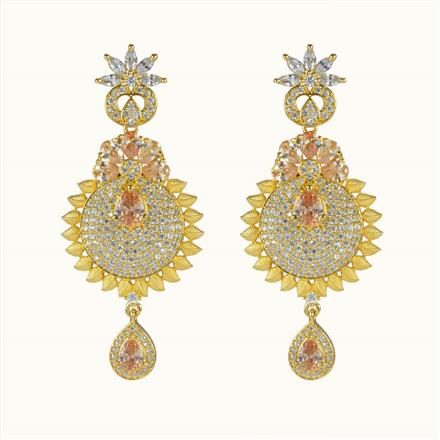 50603 CZ Long Earring with gold plating