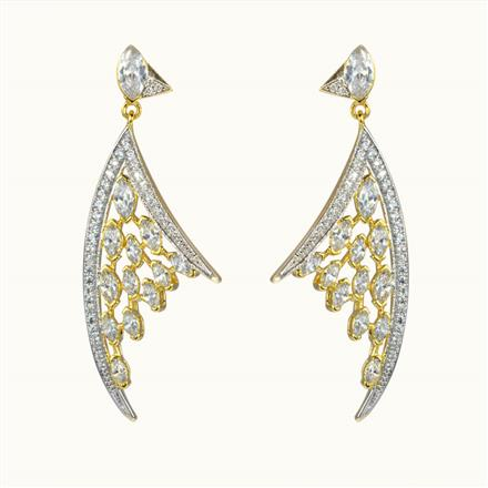 50604 CZ Long Earring with 2 tone plating