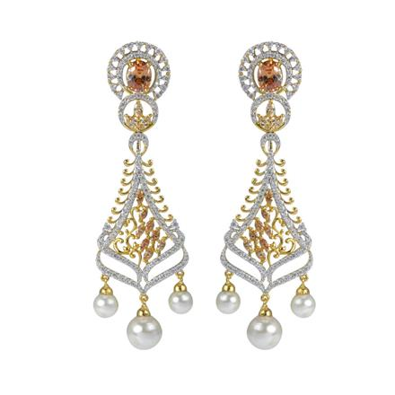 50606 CZ Long Earring with 2 tone plating