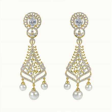 50607 CZ Long Earring with gold plating