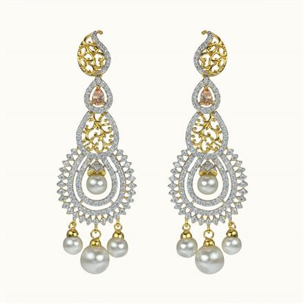 50608 CZ Long Earring with 2 tone plating