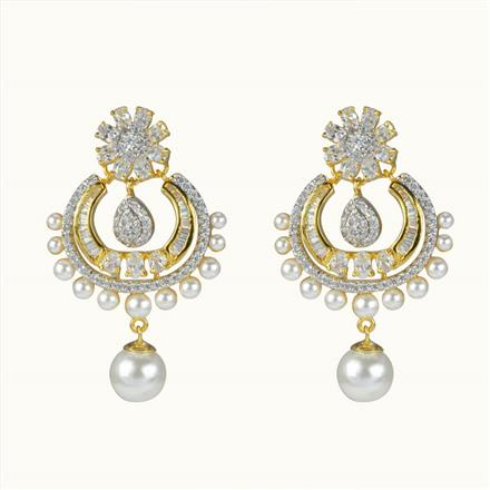 50609 CZ Chand Earring with 2 tone plating