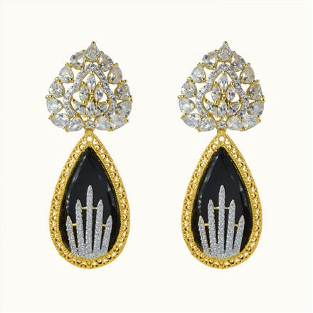 50610 CZ Classic Earring with 2 tone plating