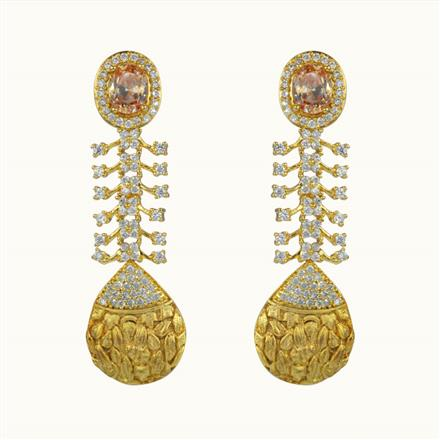 50611 CZ Long Earring with gold plating