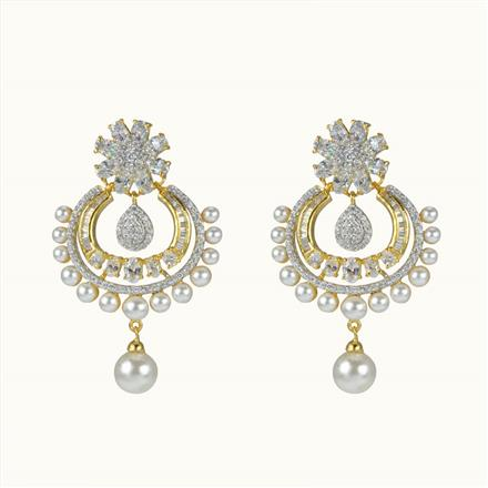 50612 CZ Chand Earring with 2 tone plating