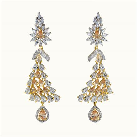50613 CZ Long Earring with 2 tone plating