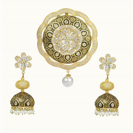 50614 CZ Classic Pendant Set with gold plating