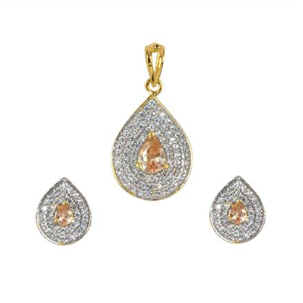 50615 CZ Delicate Pendant Set with 2 tone plating