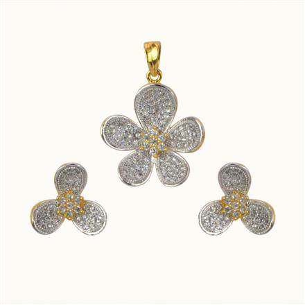 50617 CZ Classic Pendant Set with 2 tone plating