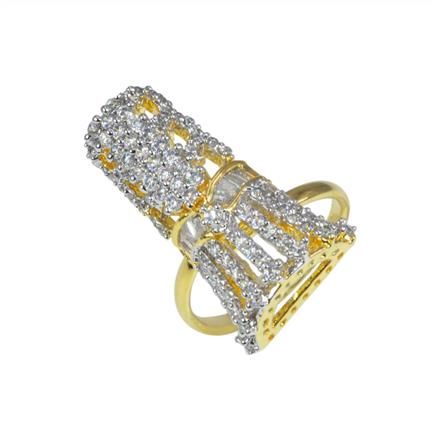 50624 CZ Classic Ring with 2 tone plating