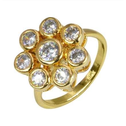 50626 CZ Classic Ring with gold plating