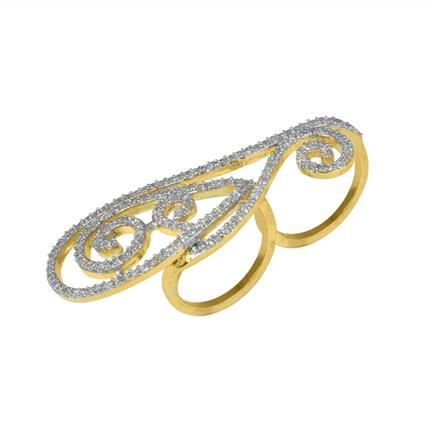 50627 CZ Classic Ring with 2 tone plating