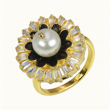 50628 CZ Classic Ring with gold plating