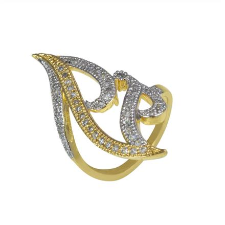 50631 CZ Classic Ring with 2 tone plating