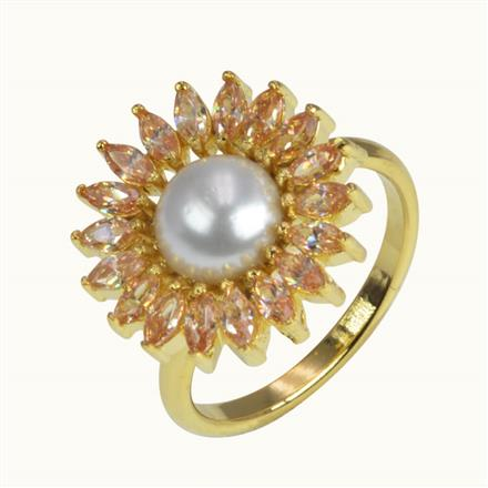 50632 CZ Classic Ring with gold plating