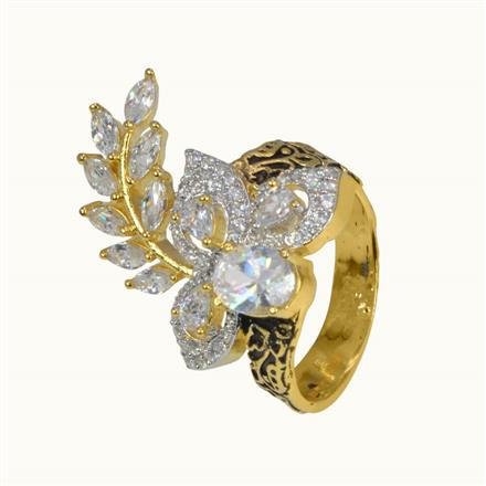 50633 CZ Classic Ring with 2 tone plating