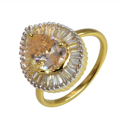 50635 CZ Classic Ring with 2 tone plating
