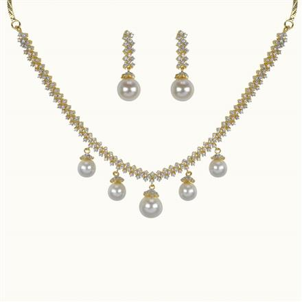 50638 CZ Delicate Necklace with 2 tone plating