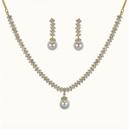 50639 CZ Delicate Necklace with 2 tone plating
