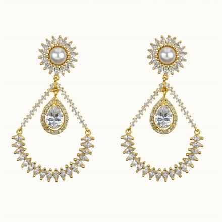 50642 CZ Long Earring with gold plating