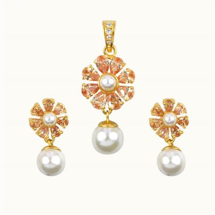 50643 CZ Classic Pendant Set with gold plating