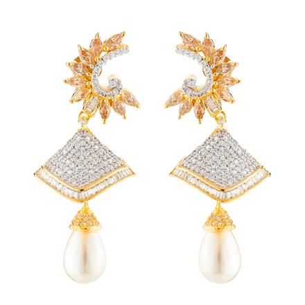 50656 American Diamond Jhumki with 2 tone plating