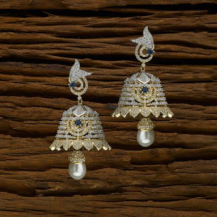 50657 American Diamond Jhumki with 2 tone plating