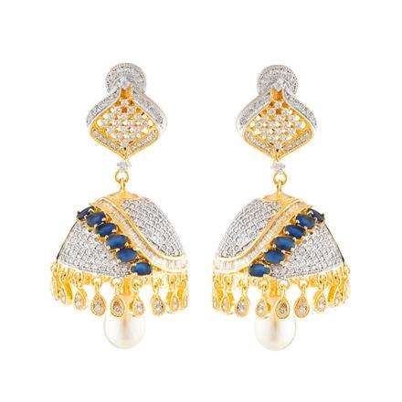 50658 American Diamond Jhumki with 2 tone plating