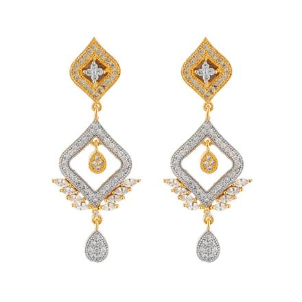 50661 CZ Delicate Earring with 2 tone plating