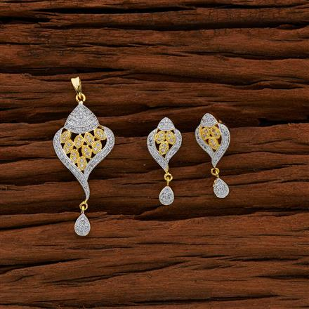 50662 CZ Classic Pendant Set with 2 tone plating