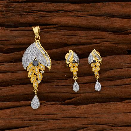 50663 CZ Classic Pendant Set with 2 tone plating