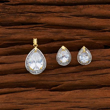 50666 CZ Classic Pendant Set with 2 tone plating