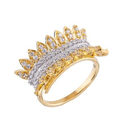 50668 CZ Classic Ring with 2 tone plating