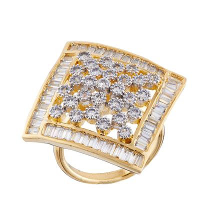 50670 CZ Classic Ring with 2 tone plating