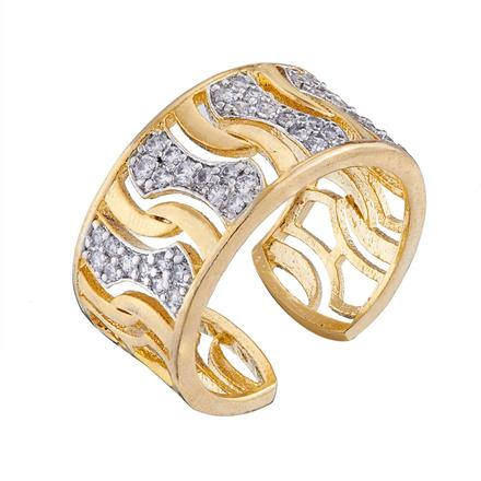 50672 CZ Classic Ring with 2 tone plating