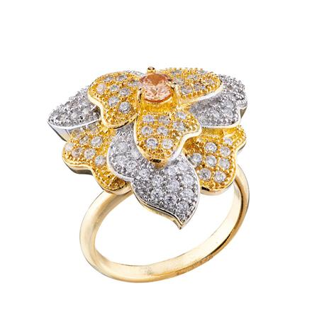50676 CZ Classic Ring with 2 tone plating