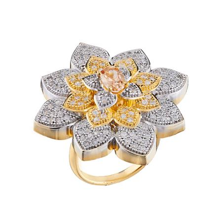 50678 CZ Classic Ring with 2 tone plating