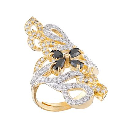 50682 CZ Classic Ring with 2 tone plating