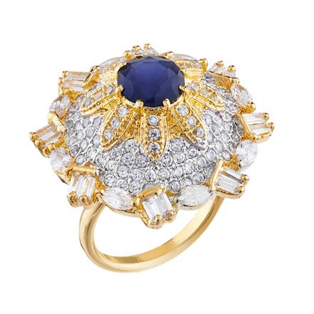 50683 CZ Classic Ring with 2 tone plating